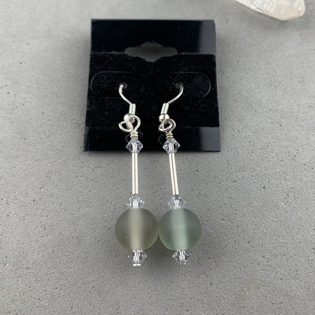 DEW DROP GREY ~ HANDMADE GLASS BEAD EARRINGS