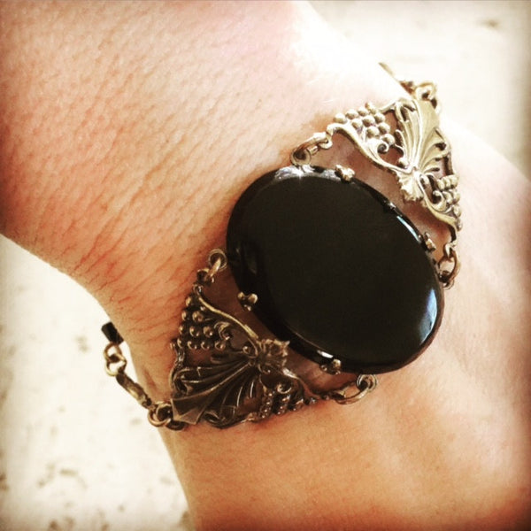 1940's onyx and brass bracelet