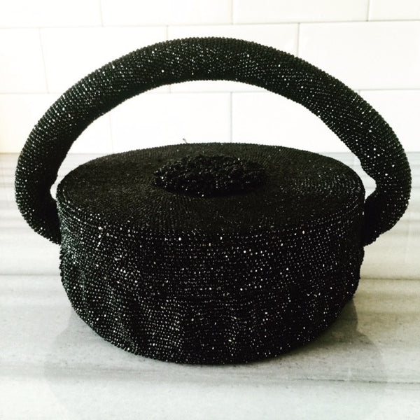 1930's black beaded hat box purse