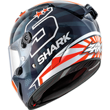SHARK Helmets RACE-R PRO Zarco 2019 - BLUE / WHITE / ORANGE - Back Left
