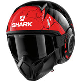 Shark Helmets STREET-DRAK Crower - BLACK / DARK GREY / RED - Front Left
