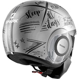 SHARK Helmets STREET-DRAK  tribute RM Matte - SILVER / DARK GREY / DARK GREY - Back Right