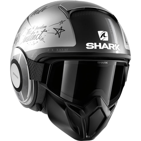 SHARK Helmets STREET-DRAK  tribute RM Matte - SILVER / DARK GREY / DARK GREY - Front Right