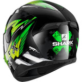 SHARK Helmets D-SKWAL 2 Penxa - BLACK / GREEN / YELLOW - Back Left