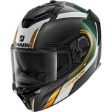 SHARK Helmets SPARTAN GT CARBON Tracker - CARBON / GREEN / GOLD - Front Left