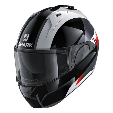 SHARK Helmets EVO-ONE 2 Endless - WHITE / BLACK / RED - Front Left Closed