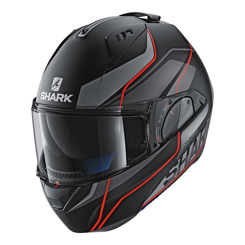 SHARK Helmets Krono Matte - BLACK / DARK GREY / RED - Front Left - Closed