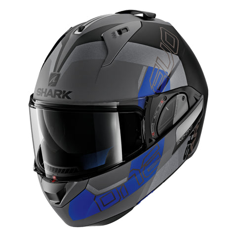 SHARK Helmets EVO-ONE 2 Slasher Matte - Dark Grey / Black / Blue - Closed