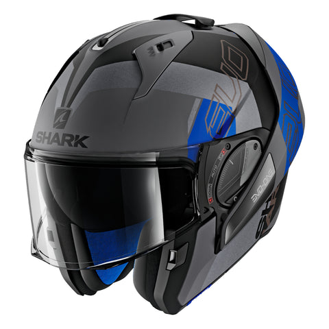 SHARK Helmets EVO-ONE 2 Slasher Matte - Dark Grey / Black / Blue - Open