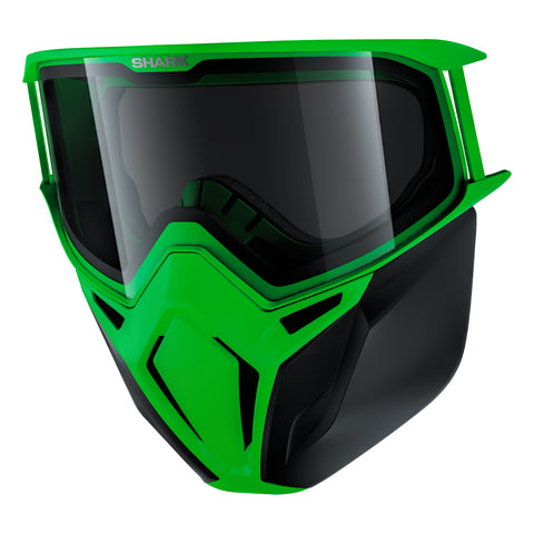 SHARK Helmets 100% Original Premium Goggles + Mask - GREEN