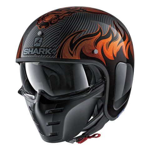 SHARK Helmets S-DRAK Dagon - CARBON SKIN / ORANGE - Front Left