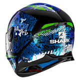 SHARK Helmets SKWAL 2 Switch Riders - BLACK / BLUE / GREEN - Back Left