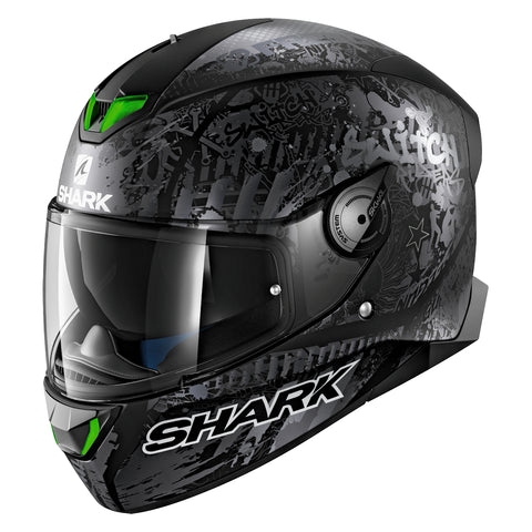 SHARK Helmets SKWAL 2 Switch Riders Matte - BLACK / DARK GREY - Back Left
