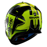 SHARK Helmets SPARTAN 1.2 Karken - NEON YELLOW / BLACK - Back Left