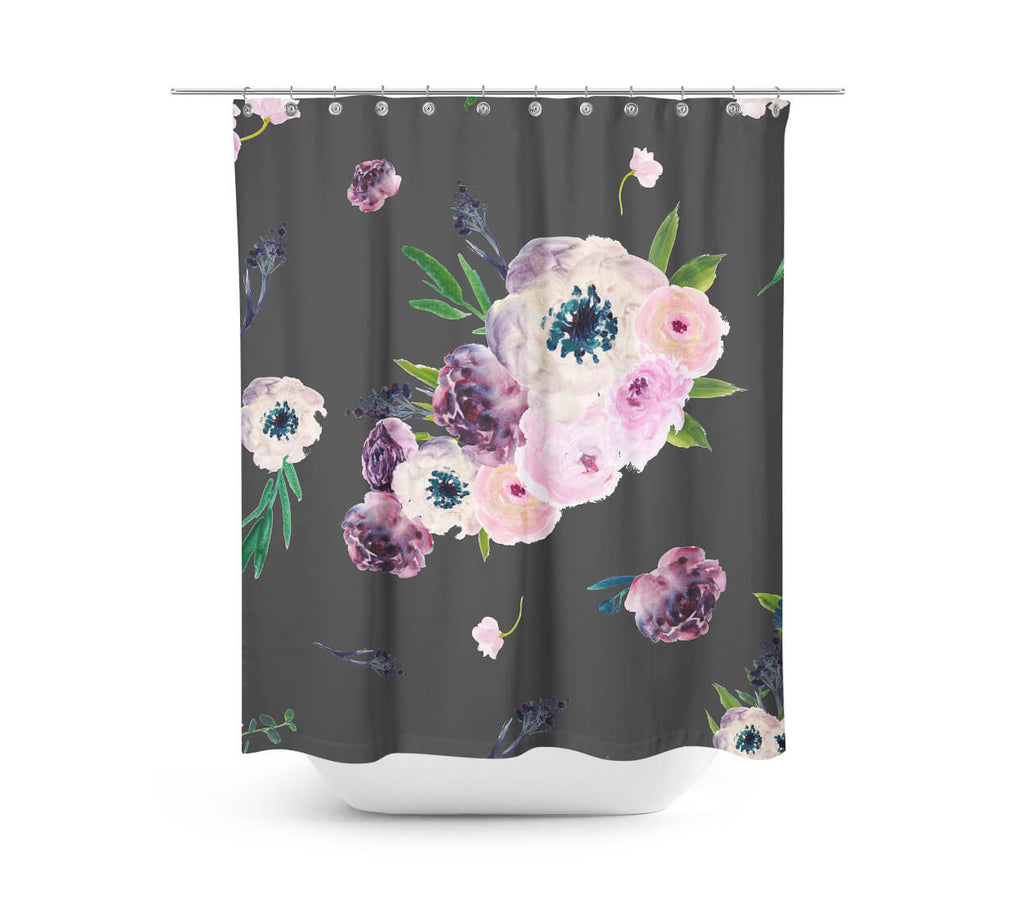 Dark Pastel Floral Shower Curtain