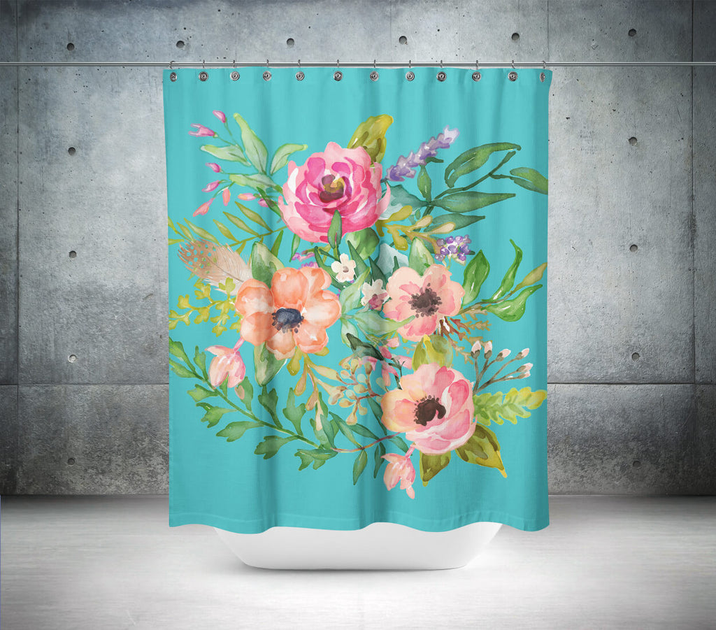 aqua pastel floral shower curtain  shopcabin -  aqua pastel floral shower curtain