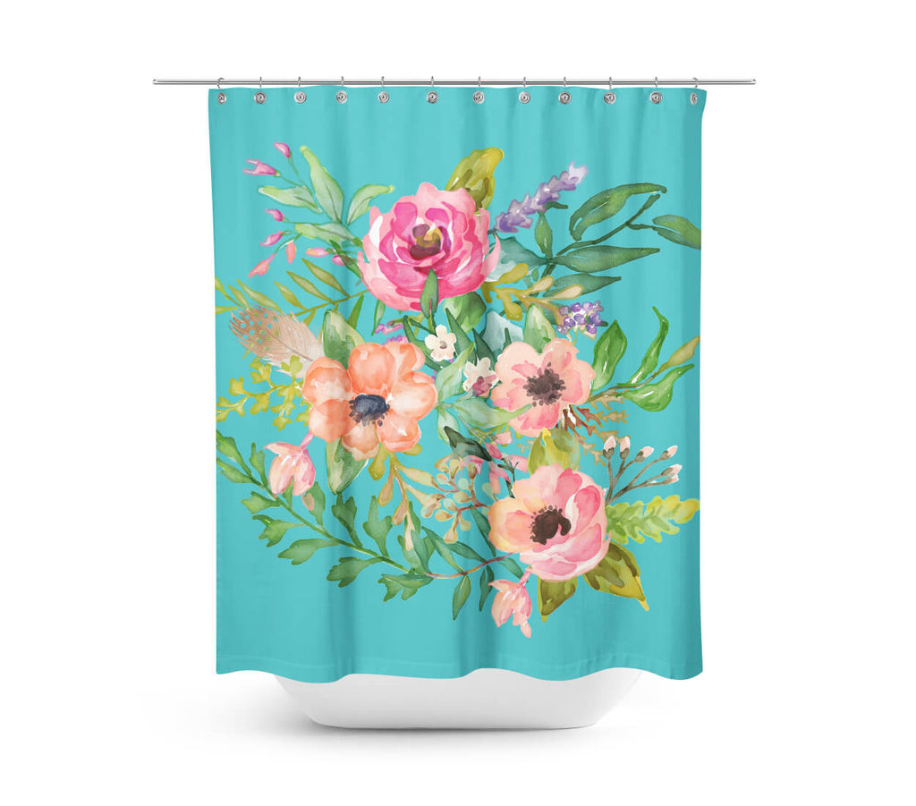 aqua pastel floral shower curtain