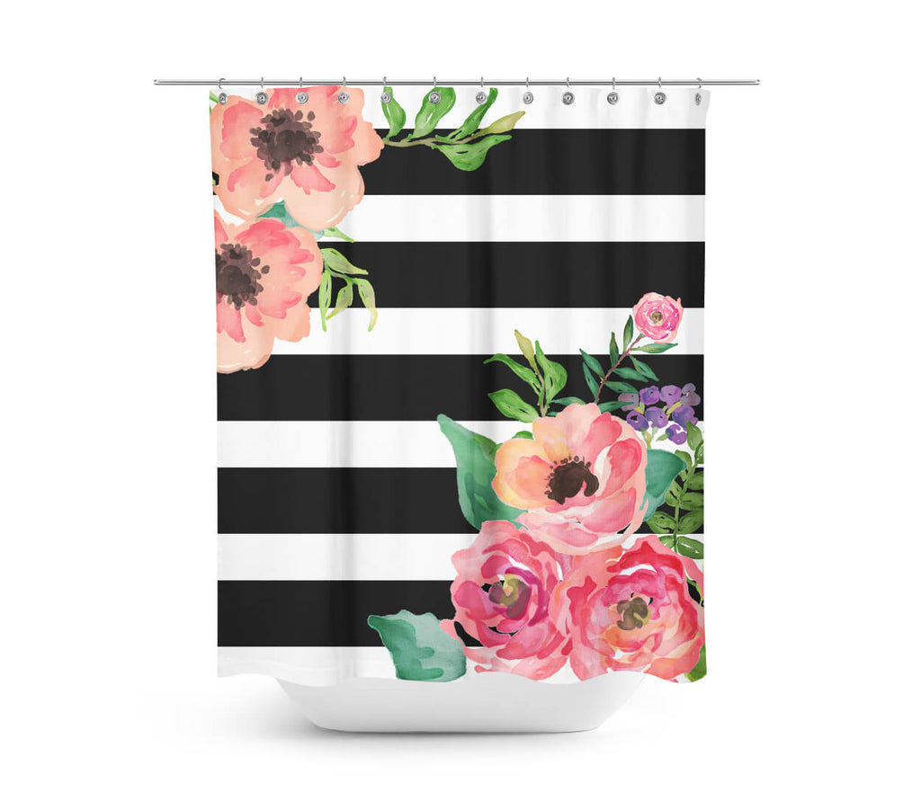 Black white stripes floral shower curtain black white for Teal and black bathroom accessories