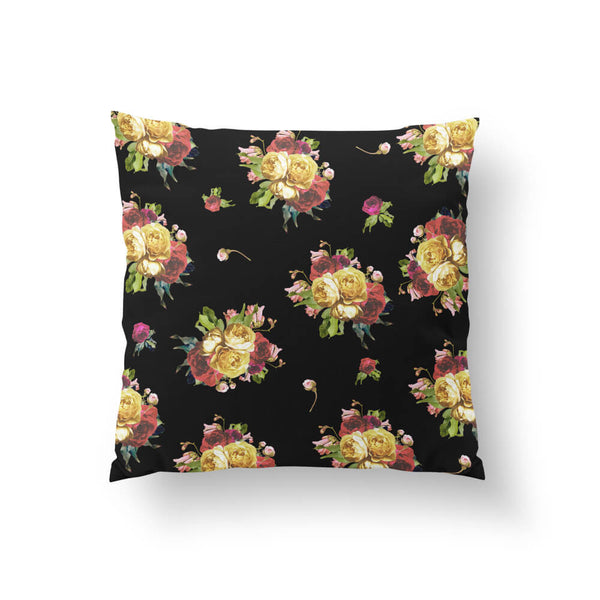 Dark Floral Garden Throw Pillow