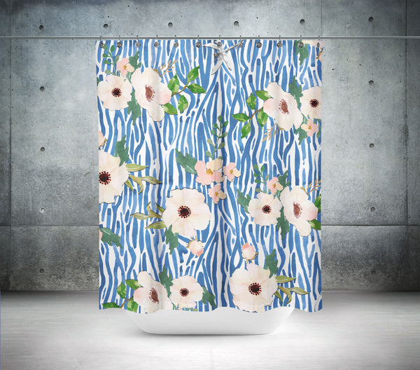 Blue Shibori Floral Shower Curtain