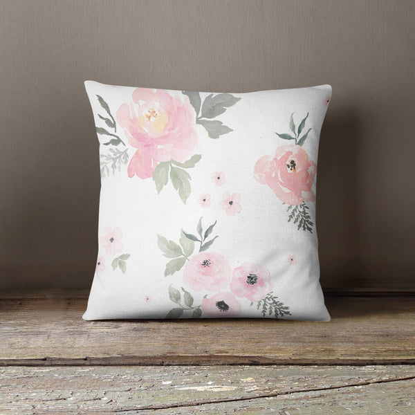 Sweet Blush Roses Throw Pillow