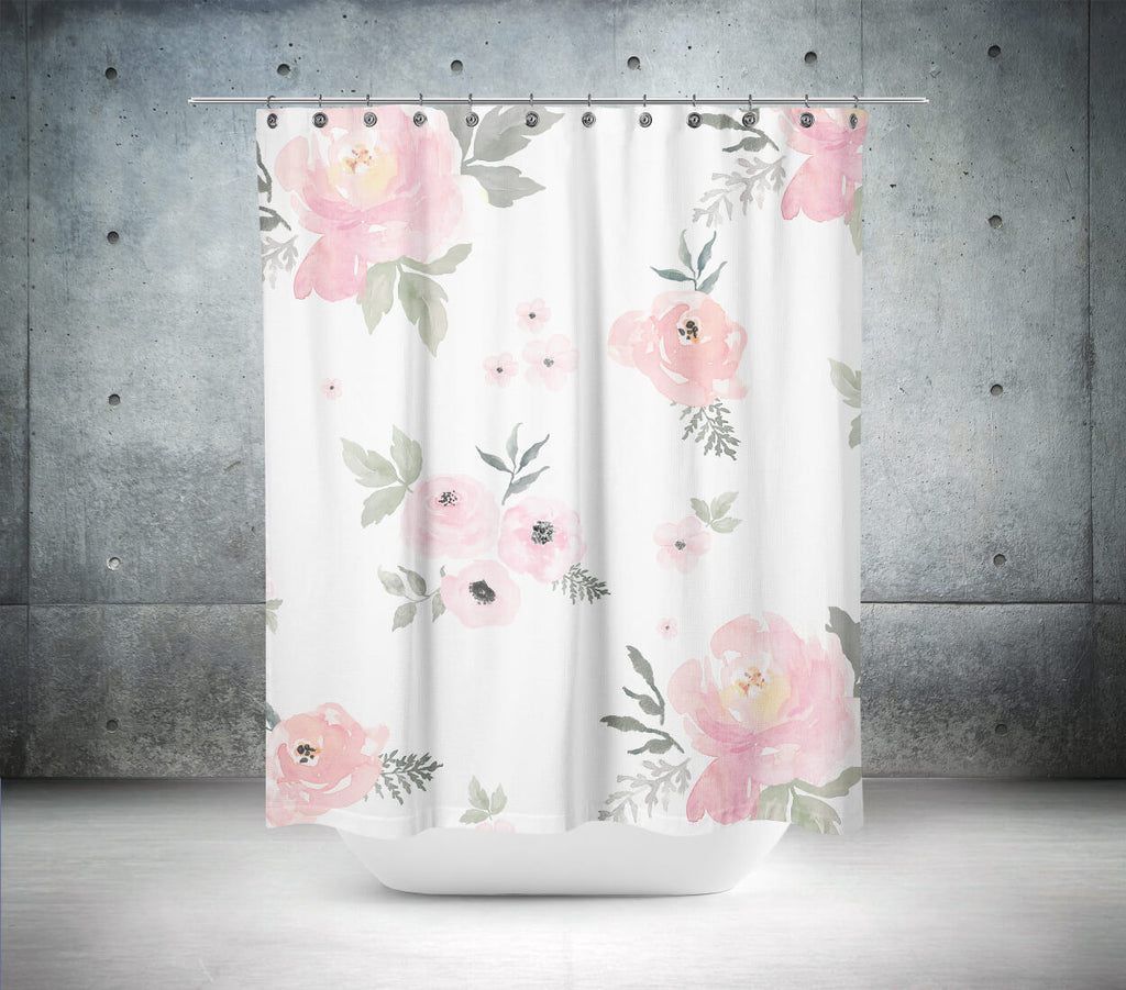 Sweet Blush Roses Shower Curtain