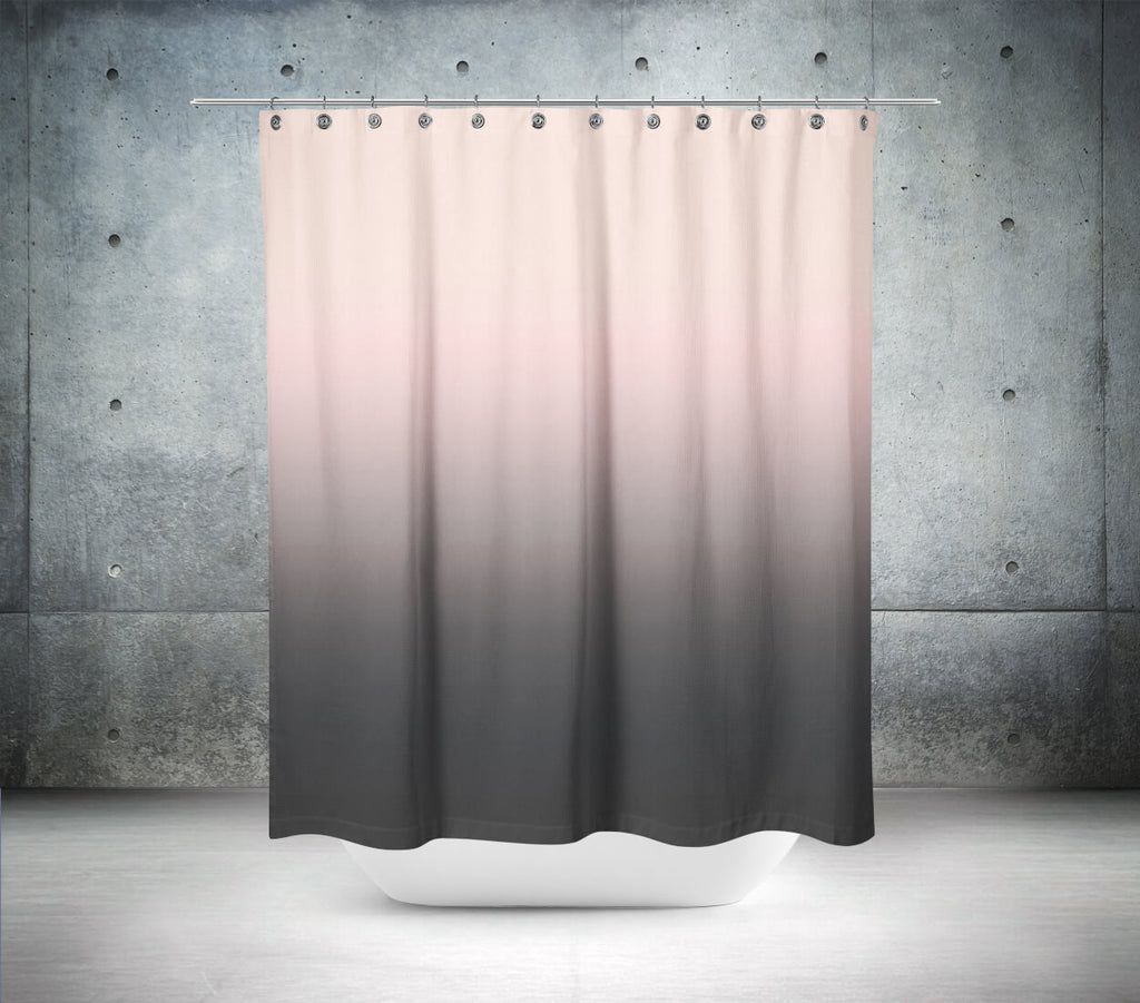 Dark Gray Pink Ombre Shower Curtain