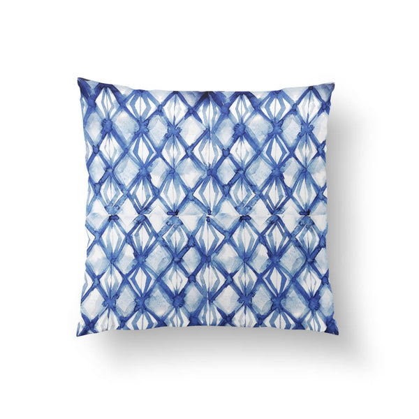 Dark Blue Shibori Throw Pillow