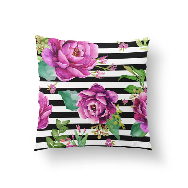 Pink Sunrise in Stripes Throw Pillow