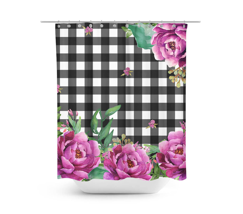 Pink Sunrise In Gingham Shower Curtain ...