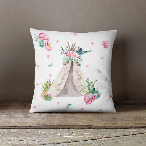 Aqua & Pink Teepee Throw Pillow