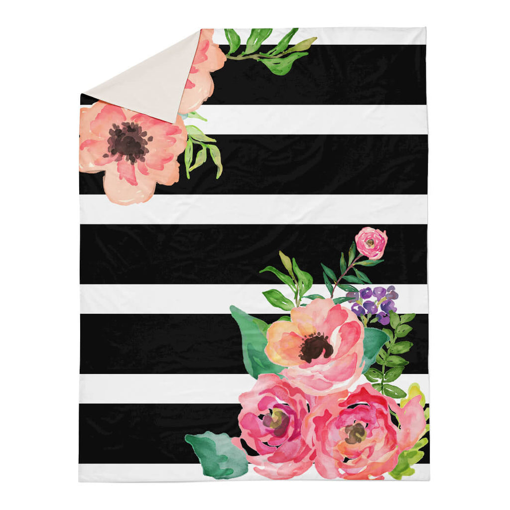 Black And White Stripes Floral Duvet Cover Shopcabin