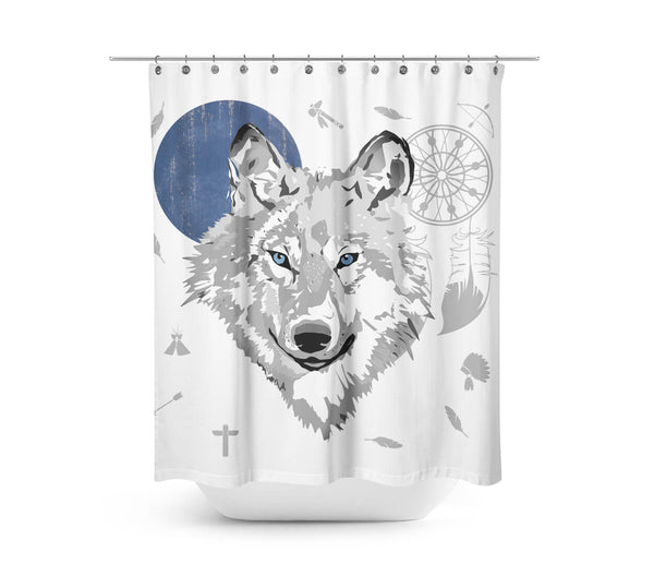 Boho Wolf - Blue Moon Shower Curtain