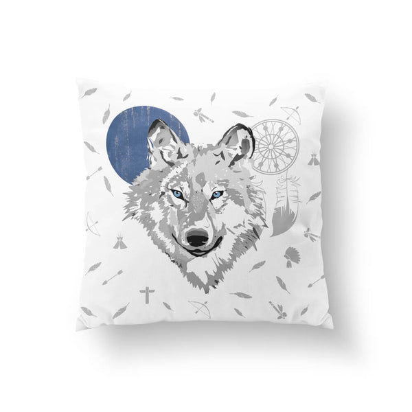 Boho Wolf - Blue Moon Throw Pillow