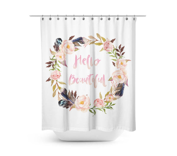 Hello Beautiful Shower Curtain