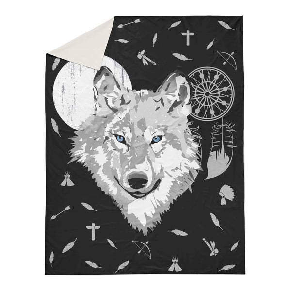 Boho Wolf - White Moon Duvet Cover