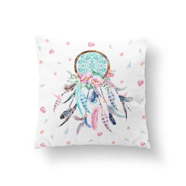 Aqua & Pink Dream Catcher (No Quote) Throw Pillow
