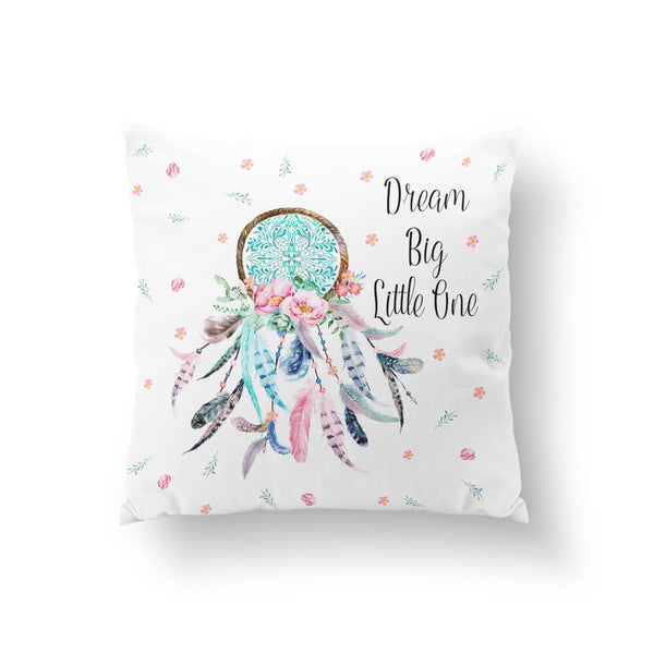 Aqua & Pink Dream Catcher (With Quote) Throw Pillow