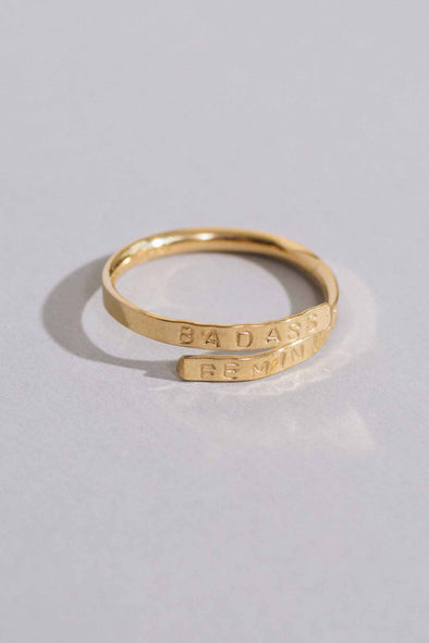 Badass Feminist Stamped Wrap Ring | MY SISTER