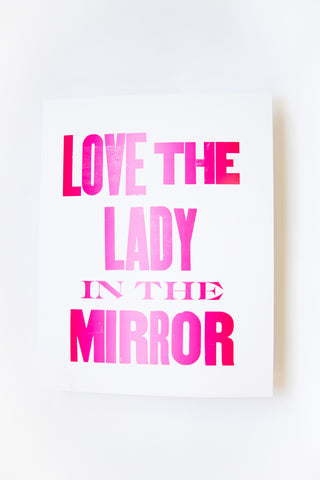 Lady in the Mirror Letterpress Print