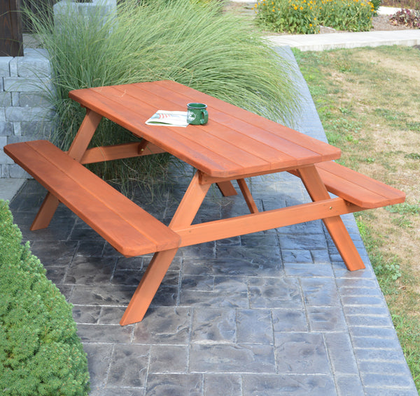 Cedar Picnic Table with Attached Benches