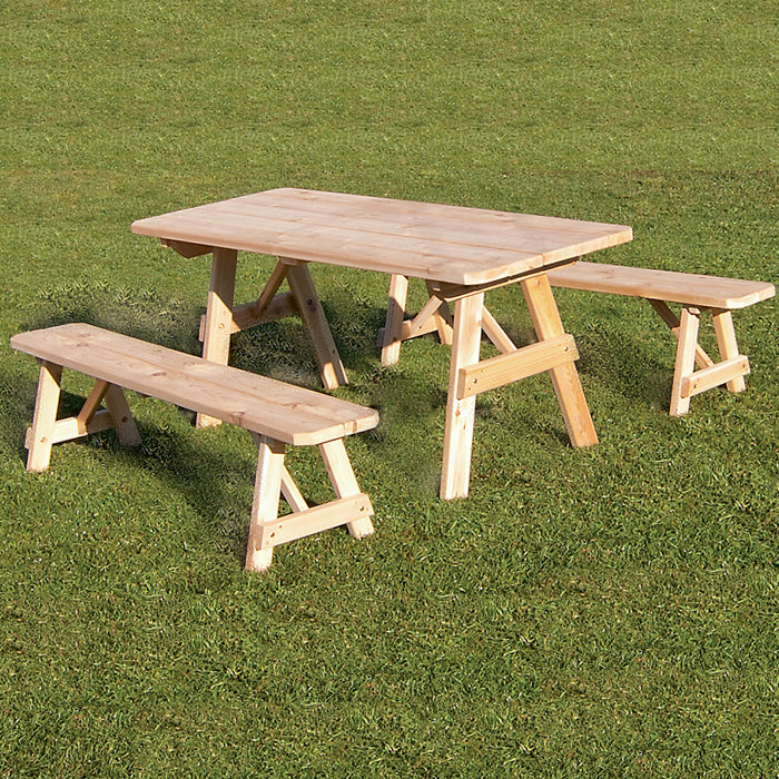Cedar Picnic Table with Benches