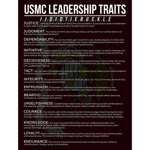 Marine Corps Leadership Traits Poster