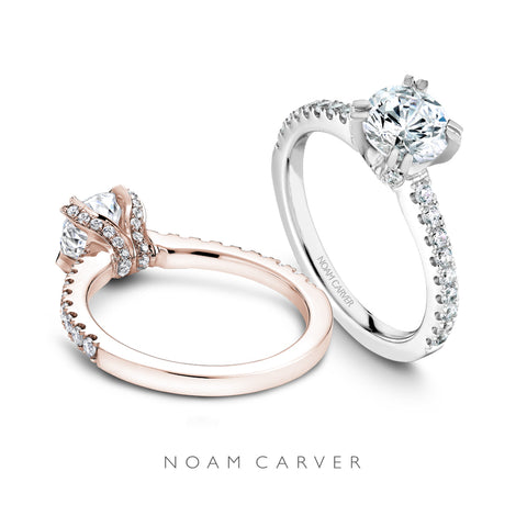 Noam Carver solitaire setting with side diamonds in rose and white gold