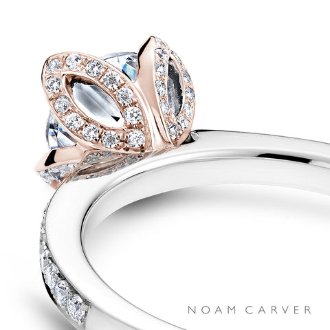 Noam Carver two tone rose and white gold diamond engagement ring