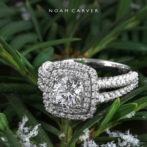 Noam Carver white gold double halo diamond engagement ring
