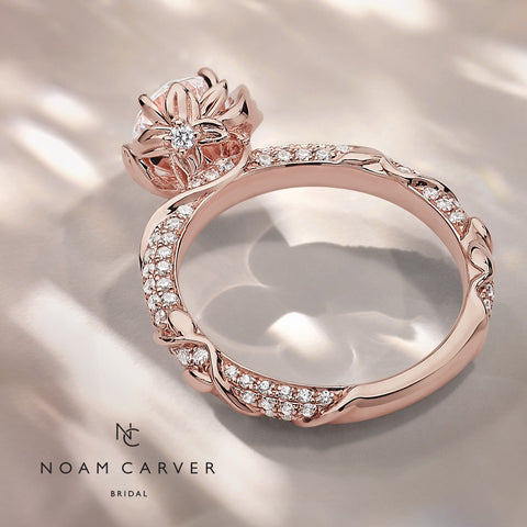 Noam Carver rose gold diamond floral engagement ring