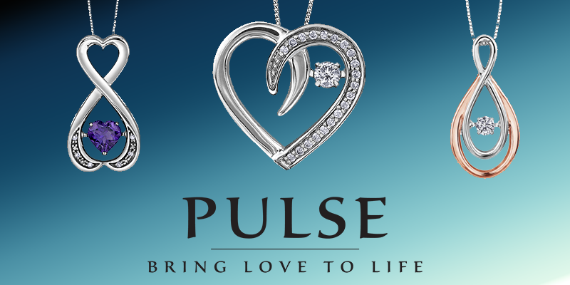 Pulse gold and silver diamond and birthstone necklaces