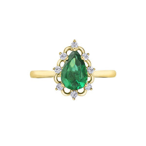 Genuine Emerald and Diamond Ring (34219)