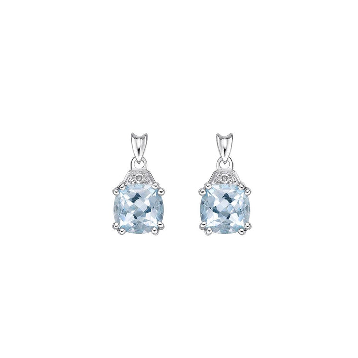 Genuine Aquamarine and Diamond Earrings